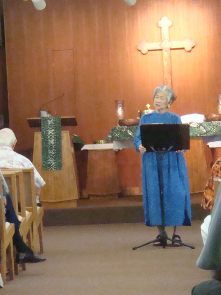 11/01/09 Sunday. Barbara Lee sang on our monthly communion service.