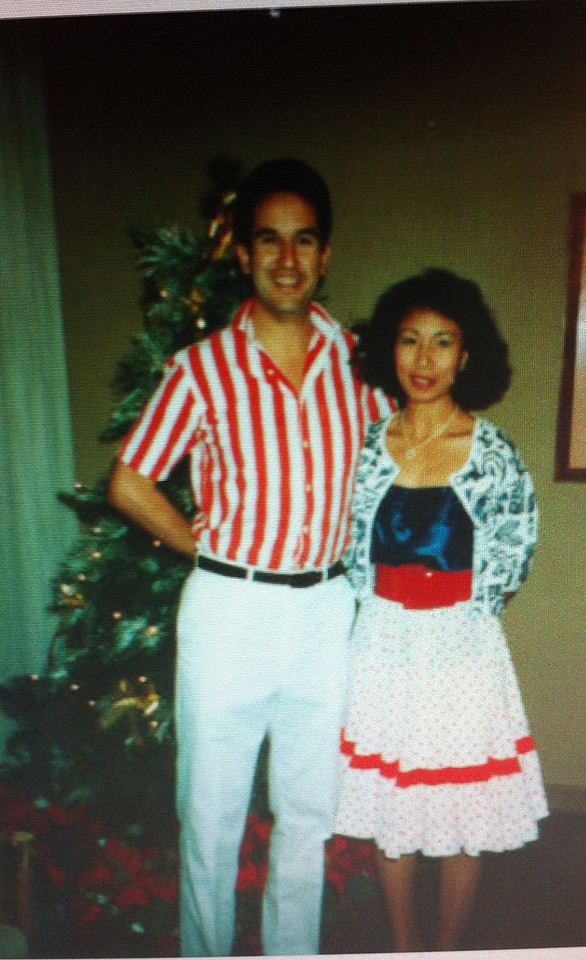 walking down the memory lane... back 1990 at Postal Xmas Party at HKO.  Gaby and me!