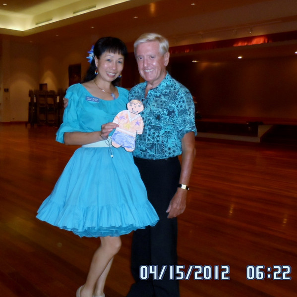 Flat Stanley at SQ dance with aunt SJ.. with David