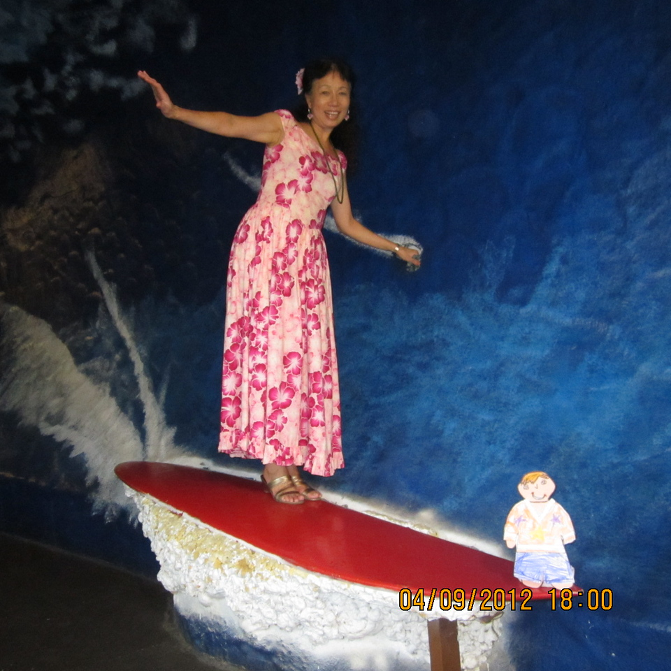 """surfing with aunt SJ.. Flat Stanley """"hanging 10"""""""