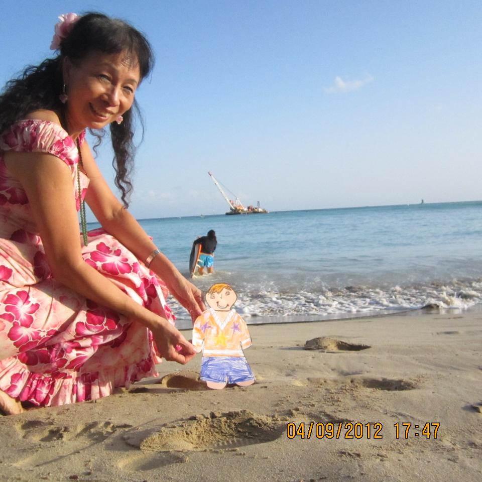 on the beach of Waikiki