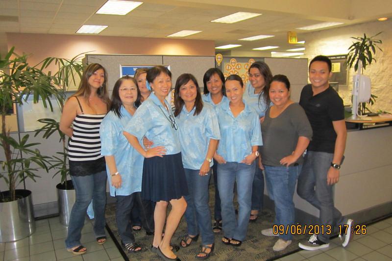 Philinda's last day with HFCU..  Patricia-Alva-Mickie-SJ- Cristie-Mary Anne- Pia-Jess- Philinda -Kenneth