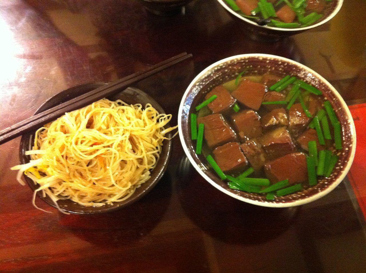 My Taiwanese lunch: rice noodles & pork blood soup.