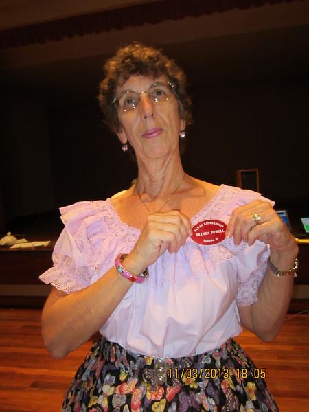 Brenda got her badge for her farewell gift.