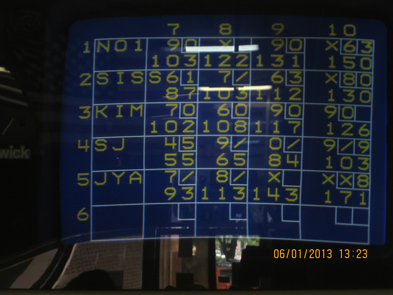 game over.. 3rd game score... all of us went down hill.. got tired!