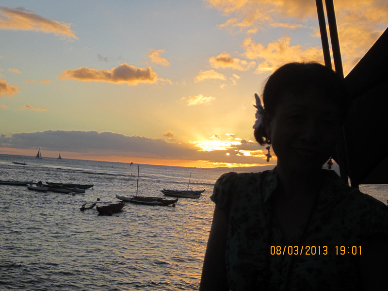 the beautiful sunset behind me..