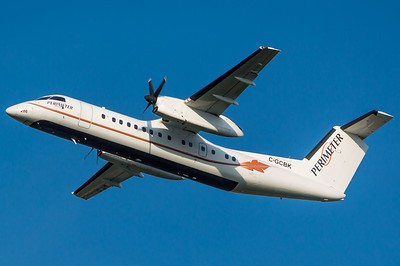 A Perimeter Aviation Dash 8-300 in flight. EIC Photo