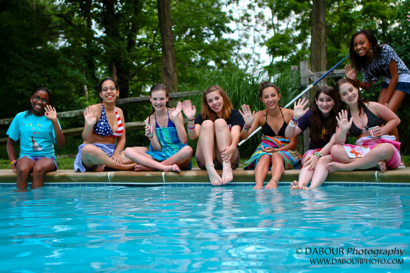 Cast members from Hairspray haning out at the pool during the cast party