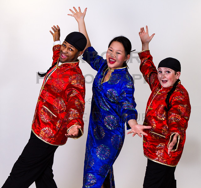 """Kaitlin Pang as Mrs Meers, Ben Izlar as Ching Ho and Andrew Plinio as Bun Foo in SKIT's upcoming """"Thoroughly Modern Millie"""" Photo by DAVE DABOUR"""