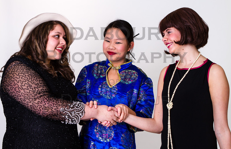 """Kaitlin Pang as Mrs Meers, Lauren Fivek as Millie and Amanda Galluzzo as Miss Dorothy in SKIT's upcoming """"Thoroughly Modern Millie"""" Photo by DAVE DABOUR"""
