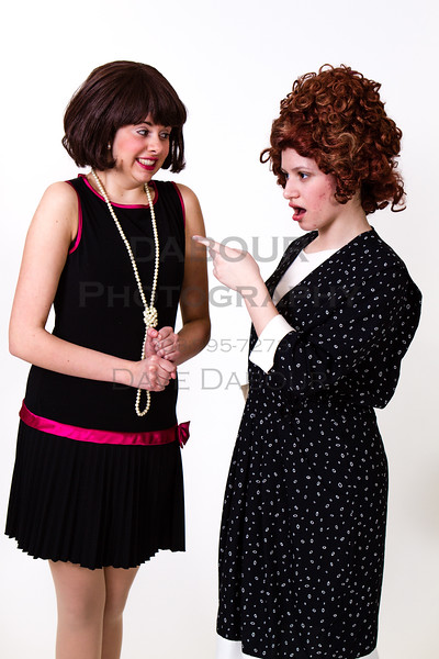 "Lauren Fivek as Millie and Dawn Cimilluca as Miss Flannery pose for a photo for SKIT's upcoming ""Thoroughly Modern Millie. Photo by DAVE DABOUR"