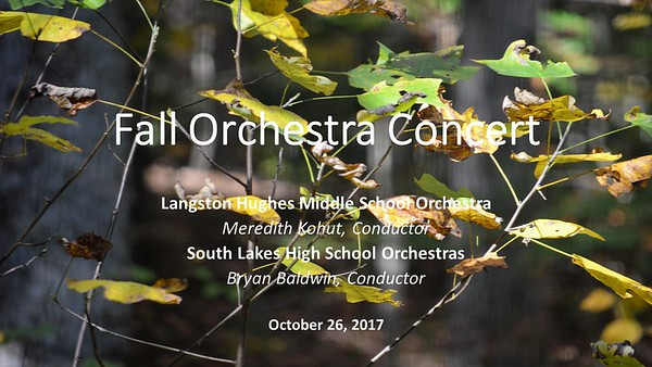 2017 10 26 Fall Orchestra Concert, SLHS & LHMS