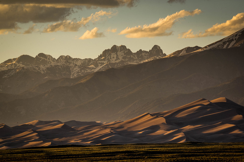 The Golden hour looking north towards the Great Sand Dunes.