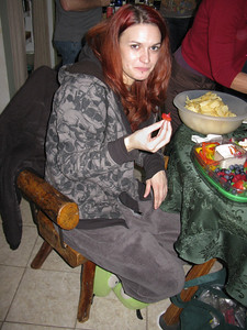 Lisa (Betty's #3 child) enjoying some fresh fruit.
