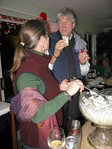 Satch (Kris Ludington, Marilyn's SO) experiencing Rose's eggnog for the first time. ;) He's hooked.