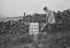 SD980364A, Man marking Ordnance Survey minor control revision point with an arrow in 1950s