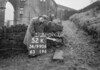 SD990652K1, Man marking Ordnance Survey minor control revision point with an arrow in 1950s
