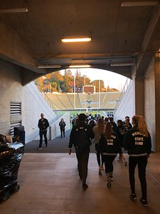 SMB walking to rehearsal for Redbox Bowl