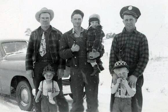 Herman Johnson, Perry Patterson with Vernon Johnson, Floyd Bramwell.  Gary and Doug Bramwell in front - Colorado winter.