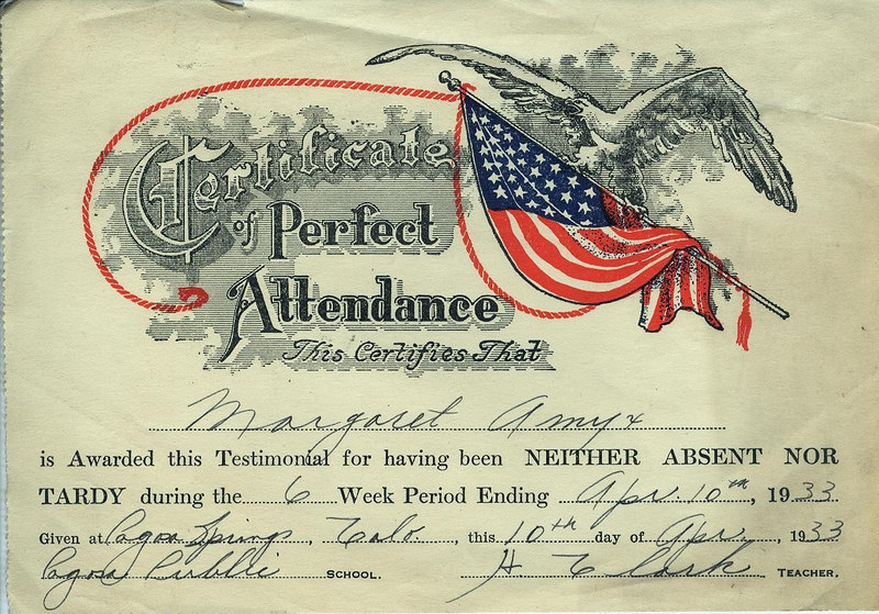 Aunt Marge's perfect attendance award in 1933.