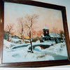 Oil painting on glass (done in reverse order) done by Jennie Smith, Virginia Bramwell's grandmother.  Hung last in Virginia's room at Pine Ridge. Doug or Gary has it now.