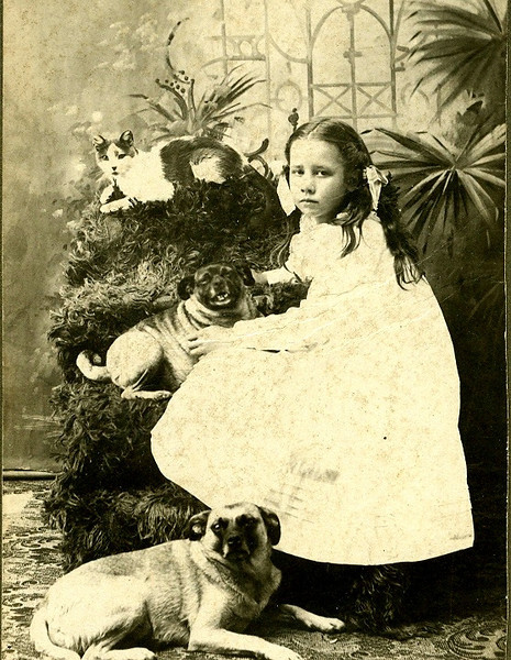 Esther Smith in Lenora, Kansas iwth her pets. 1800s  Esther was born March 13, 1895 and died at home post a stroke November 26, 1981