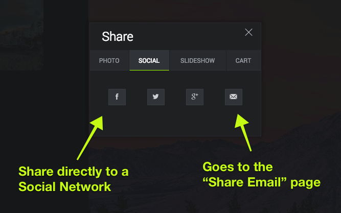 """Use the """"Social"""" tab to share to Social Networks, or send an email to anyone you'd like."""