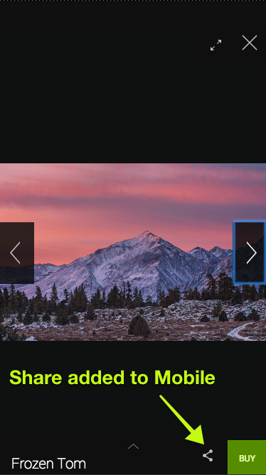 On mobile devices, the Share button is visible from within the Lightbox.