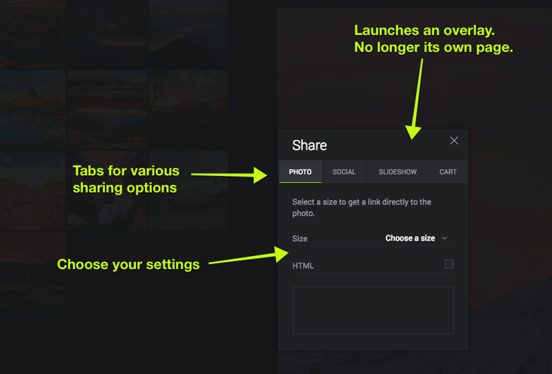 """Clicking the Share icon will launch a new panel. No longer will you be taken to a special """"Get a Link"""" page. Additionally, there is no sub-menu anymore.  Sharing to Facebook, Twitter, Google+, and Email can be done from this panel.<br /> <br /> Additionally, you can get a link to a specific photo side, create an HTML5 Embeddable slideshow, or get a link to the shopping store.<br /> <br /> """"Collect"""" has been moved to the Tools menu (the wrench)."""