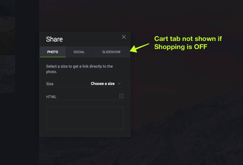 """If the particular photo has the shopping cart turned OFF, the """"Sell"""" tab is not shown."""
