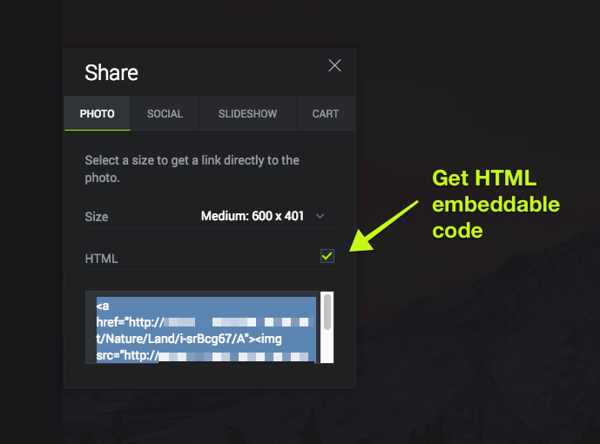 """Click the """"HTML"""" checkbox to generate HTML embeddable code, to be used on blogs, websites, and more."""