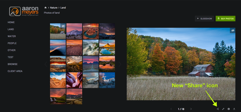 """The """"Share"""" icon has been updated with a new look. All of SmugMug will eventually be updated to use this share icon."""