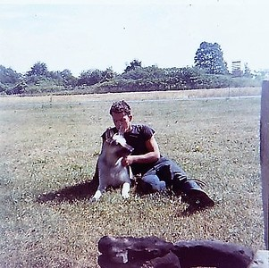 "1957 - 15 yr old Dave and his constant companion, German Shepard ""Beauty""."