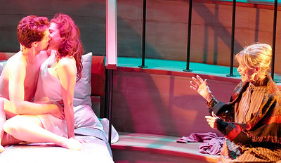 Mrs. Donaldson (Nancy Shelby - R) is amazed by her lodgers (Andre Amarotico, Rosie Hallett) Photo by Mel Solomon