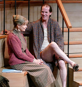 Terry (Robert Parsons) introduces himself to fellow Simulated Patient Mrs. Donaldson (Nancy Shelby) Photo by Mel Solomon