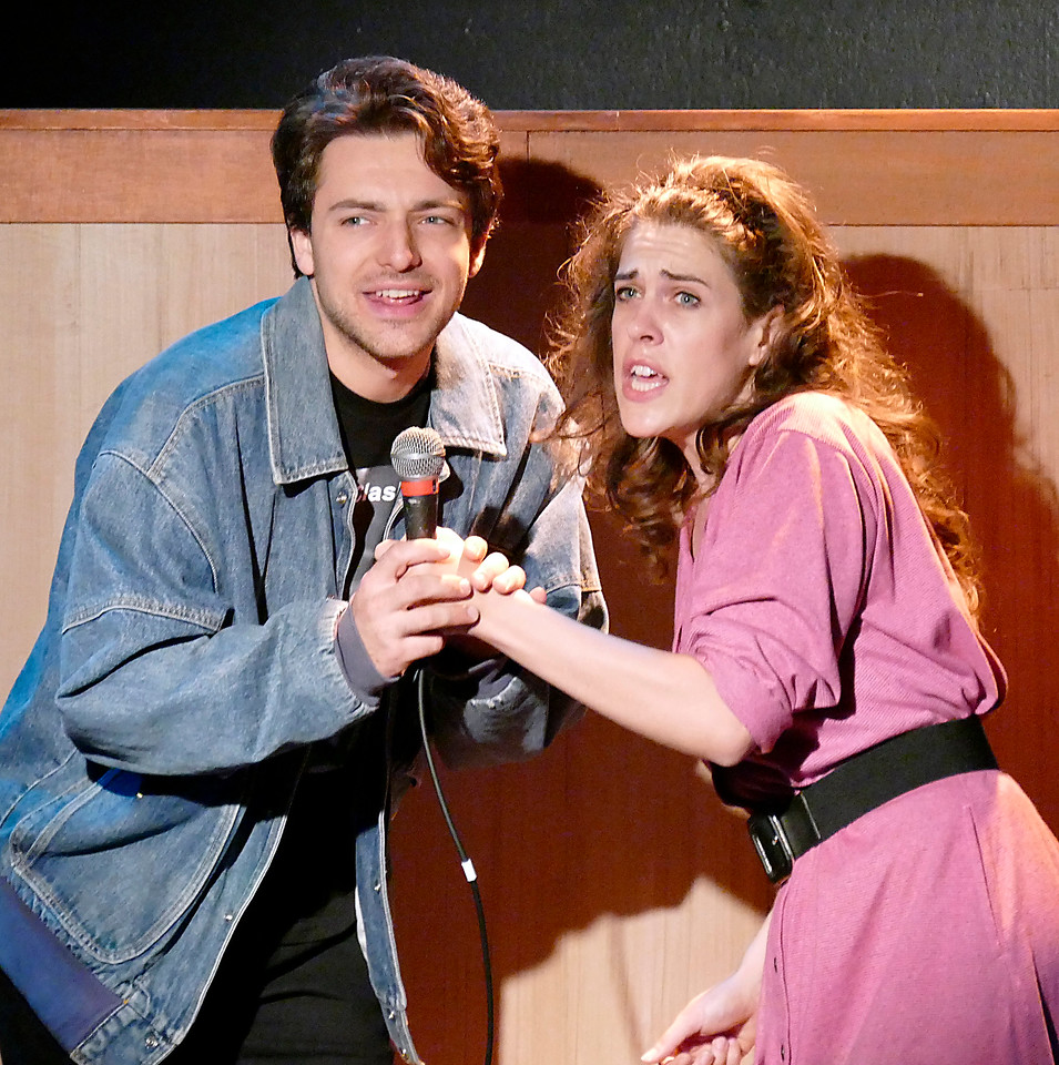 Andy (Andre Amarotico) and Laura (Rosie Hallett) enjoy a karaoke moment. Photo by Mel Solomon