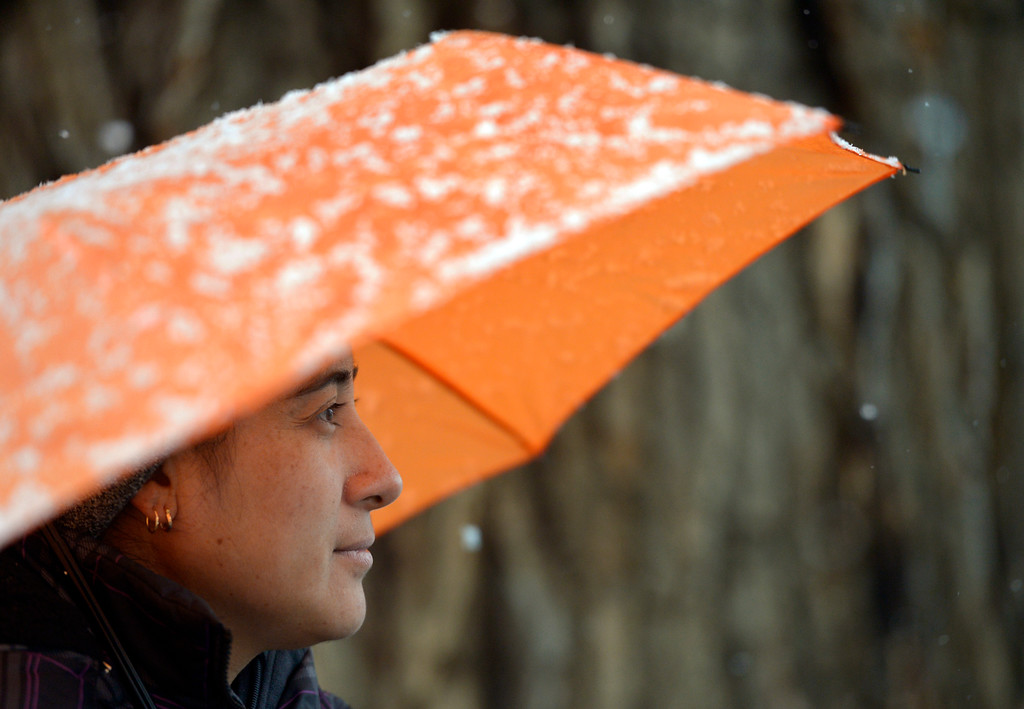 . Julia Abrego uses an umbrella to stay out of the snow while waiting for a bus at Eighth Avenue and Coffman Street Monday morning. Abrego said she was going to work in Fort Collins. Lewis Geyer/Staff Photographer Oct. 08, 62017
