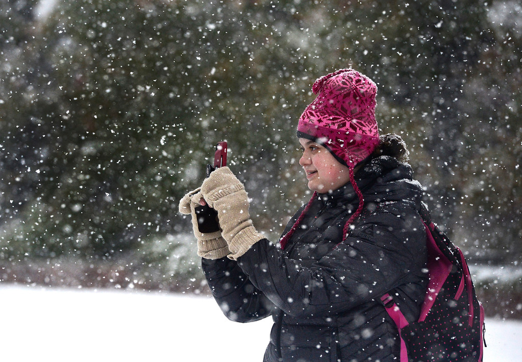 . University of Colorado student Eliana Wieder, who is from, Miami, sends photos of the Boulder snow back to her family in Florida.  For more photos go to dailycamera.com Paul Aiken Staff Photographer / Oct 9 2017
