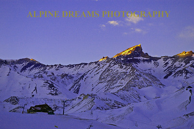 Early morning light captures the peak at Las Lenas.