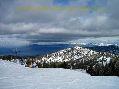 Looking out at the lake on top of Heavenly with a new storm ariving. The views of lake tahoe are long remembered.