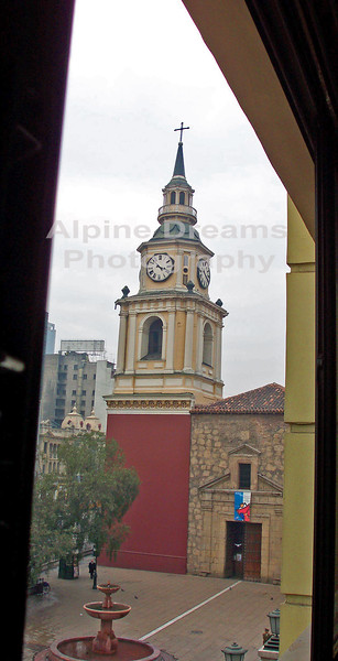 This is a shot of the oldest Catholic Church in Chile.  Located in Santiago.  There was some political unrest going on when we were in Santiago so we were captive guests at the hotel for a short time.