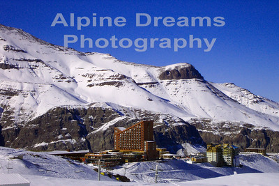 The hotels at Valle Nevado sit on the edge of a mountain. remote and Beautiful!