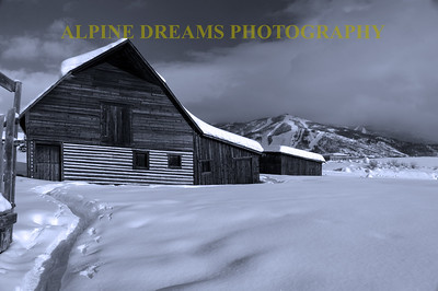 STEAMBOAT BARN BLACK & WHITE LANDSCAPE
