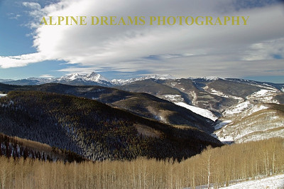 VAIL   ASPENS & MOUNTAINS.    This shot is a wide angle of the scene across from the top of the Gondola building. Sparse snow this January gave more contrast with the branches of the Aspens & the Evergreens.