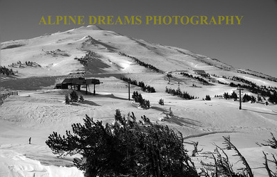 CALLED    MOUNDS OF FUN  IN B & W  ---  This mountain has Bumps all over it.  These make for great skiing especially on a POWDER DAY.  I shot this with a Fish Eye Lens