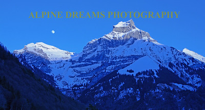 Full Moon over Mountains by Engelberg