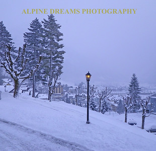 Twilight snow fell and when the street lamp came on I shot this scene. The mountain and the town is behind the cloud.