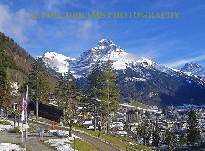 From the hill by Hotel terrace you see the town of Engelberg nestled beneath the mountains.