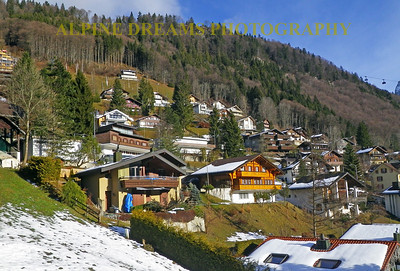 The edge of town in Engelberg Switzerland. Notice the design of the houses.