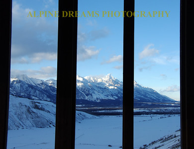 TETONS FRO THE GRANARY WINDOWS